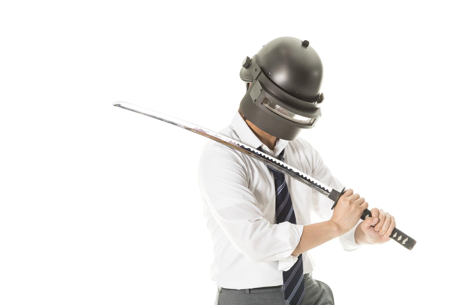 「日本刀を持ってドン勝に憧れるコスプレイヤー」の写真[モデル:大川竜弥]