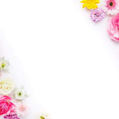 「背景デザインに使いやすいお花のフレーム」の写真素材