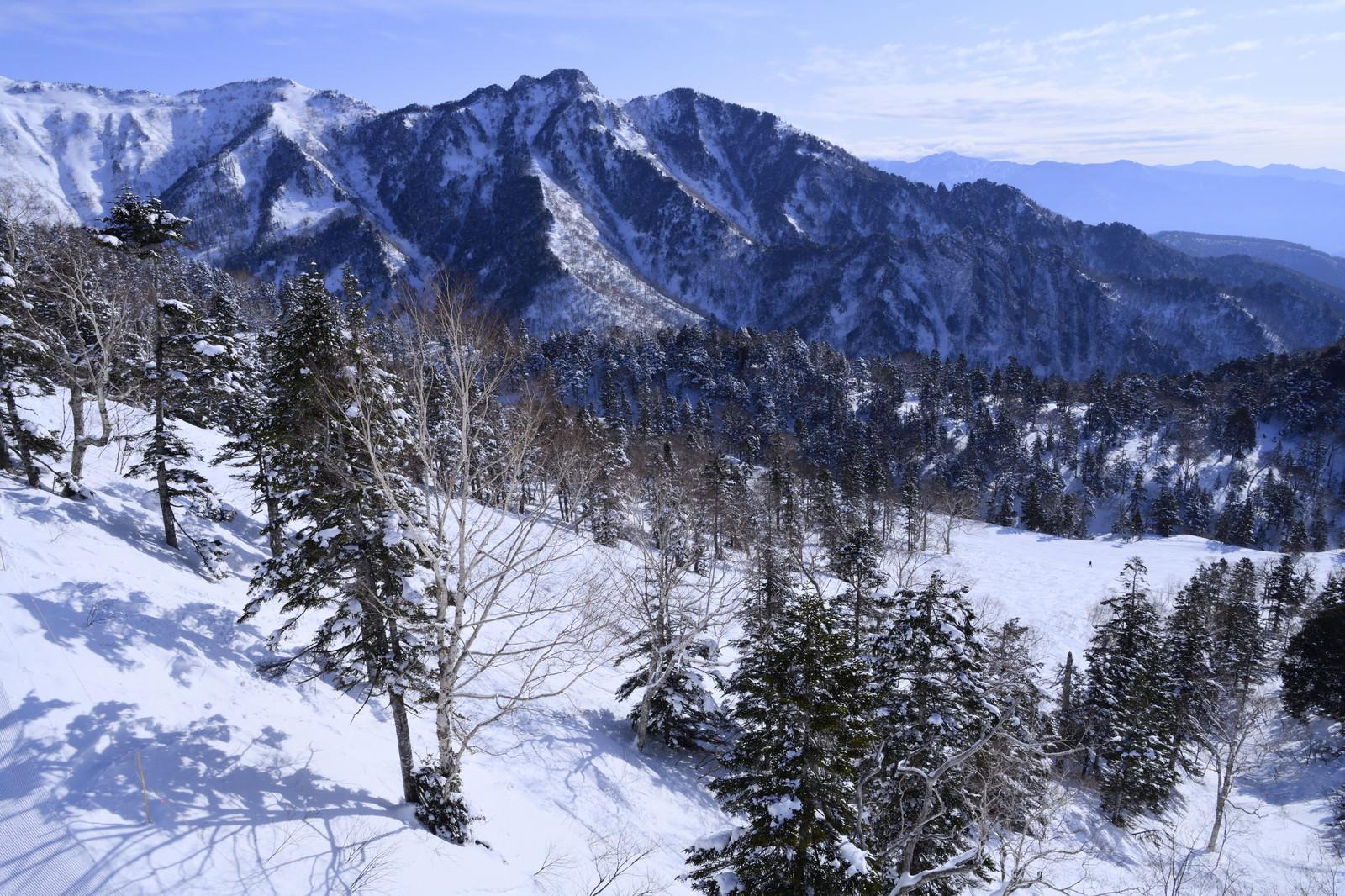 「雪化粧した上州武尊山の山々」の写真