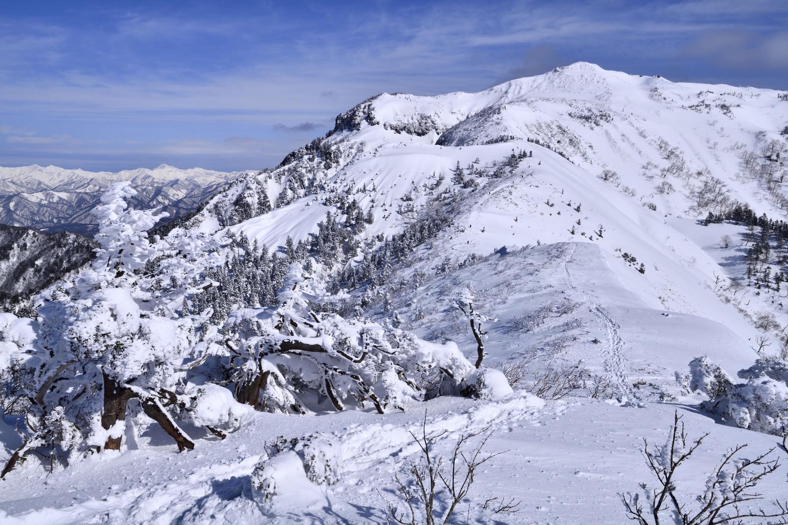「雪化粧した上州武尊山と足跡」の写真