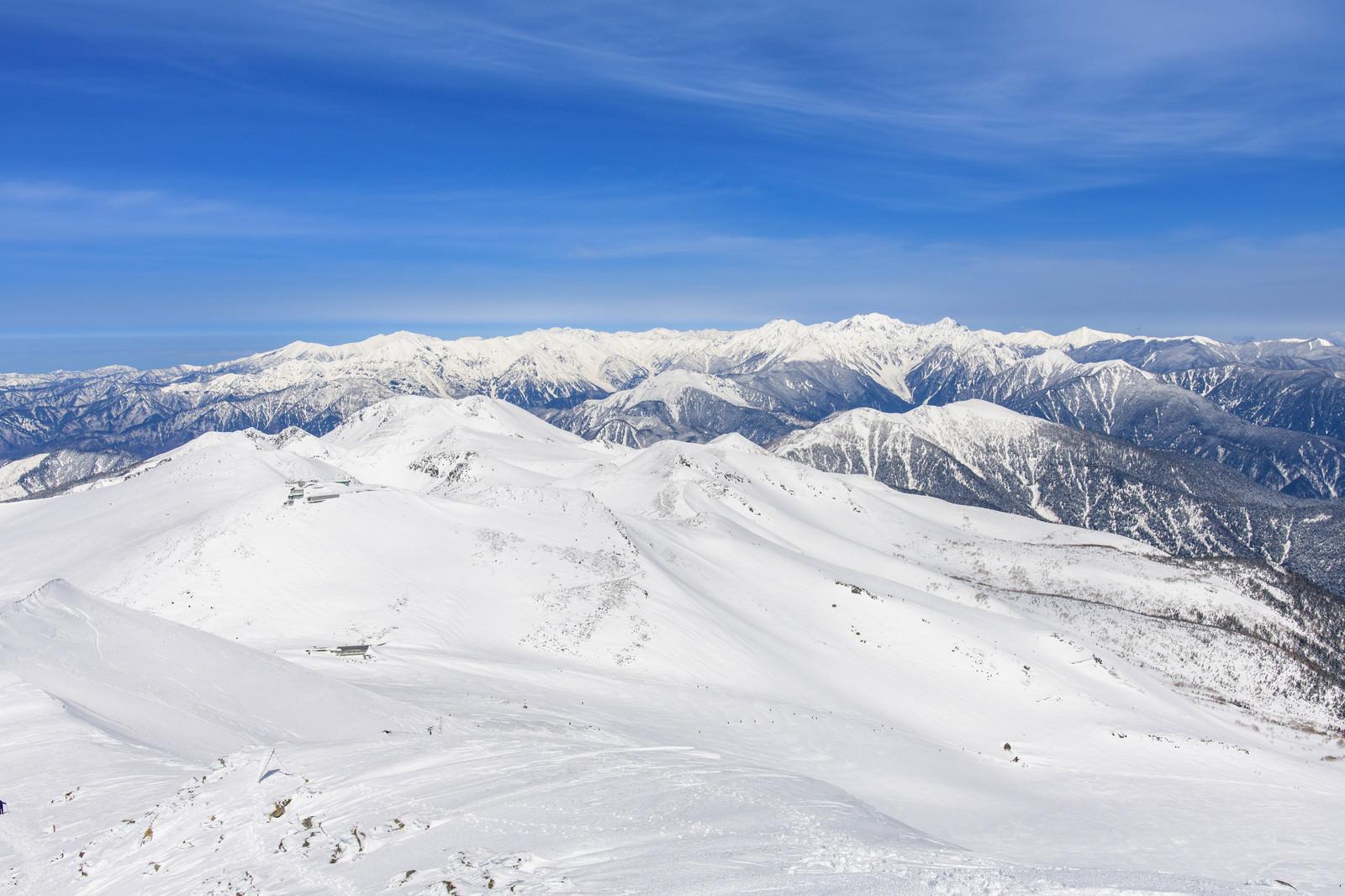 「乗鞍岳から眺める中央アルプスの山々」の写真