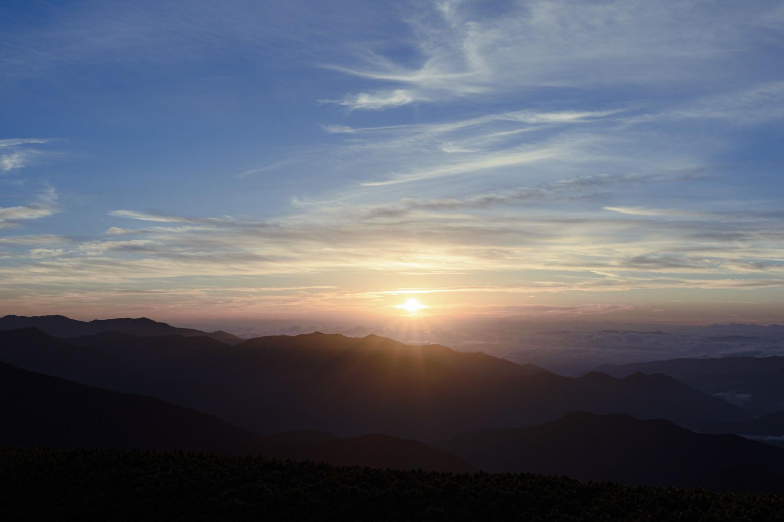 「乗鞍岳で迎えるご来光(飛騨山脈)」の写真