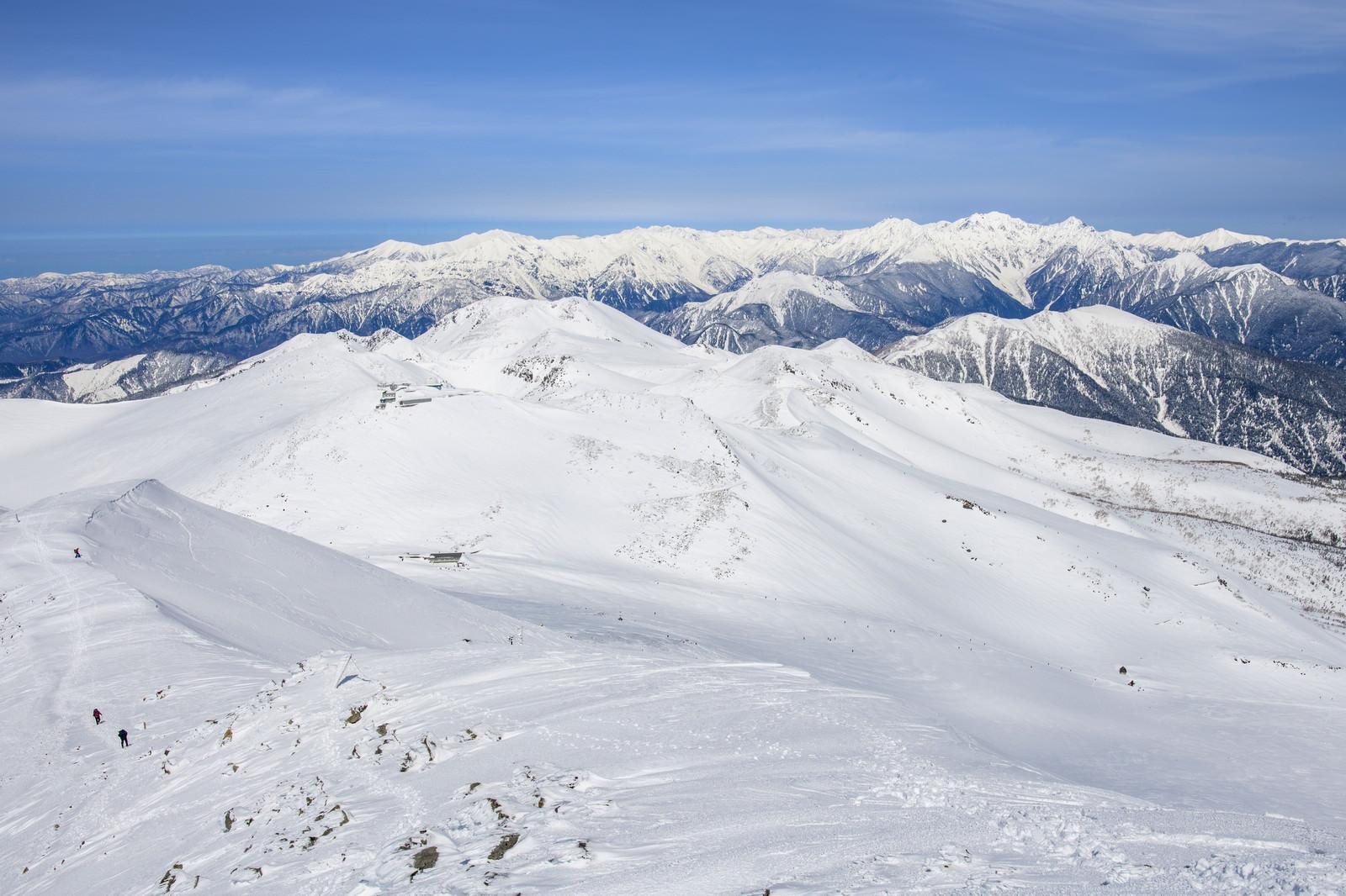 「乗鞍岳の稜線と中央アルプス」の写真