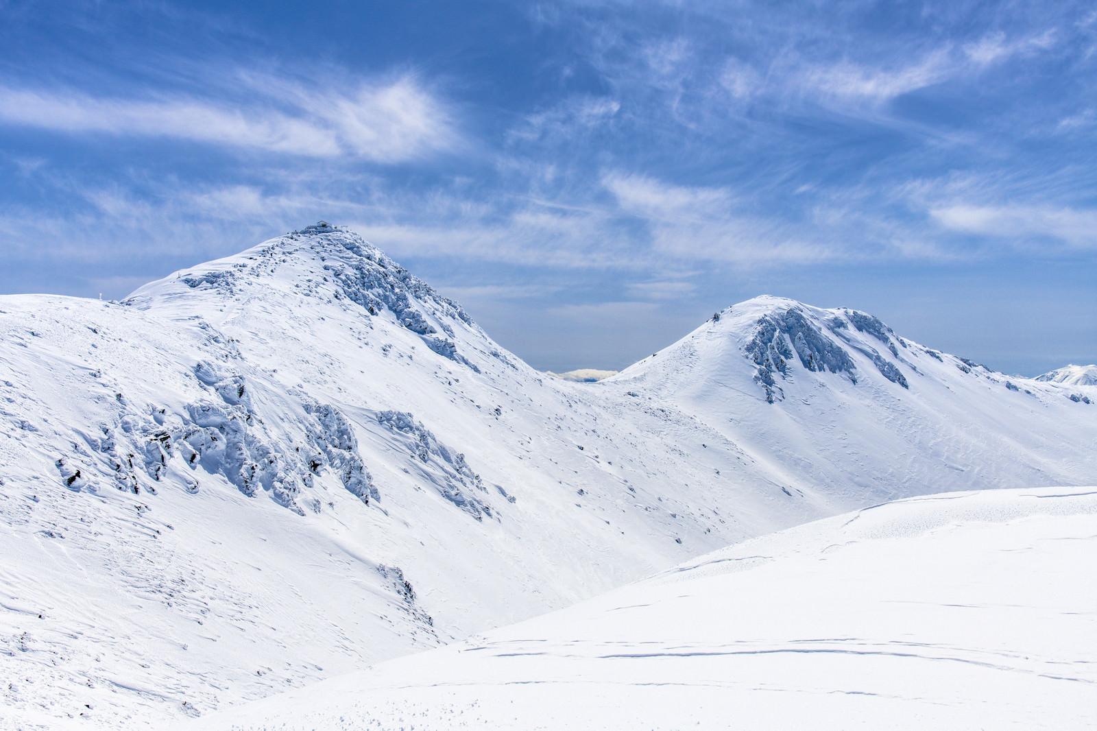 「真冬の乗鞍岳稜線を歩く」の写真