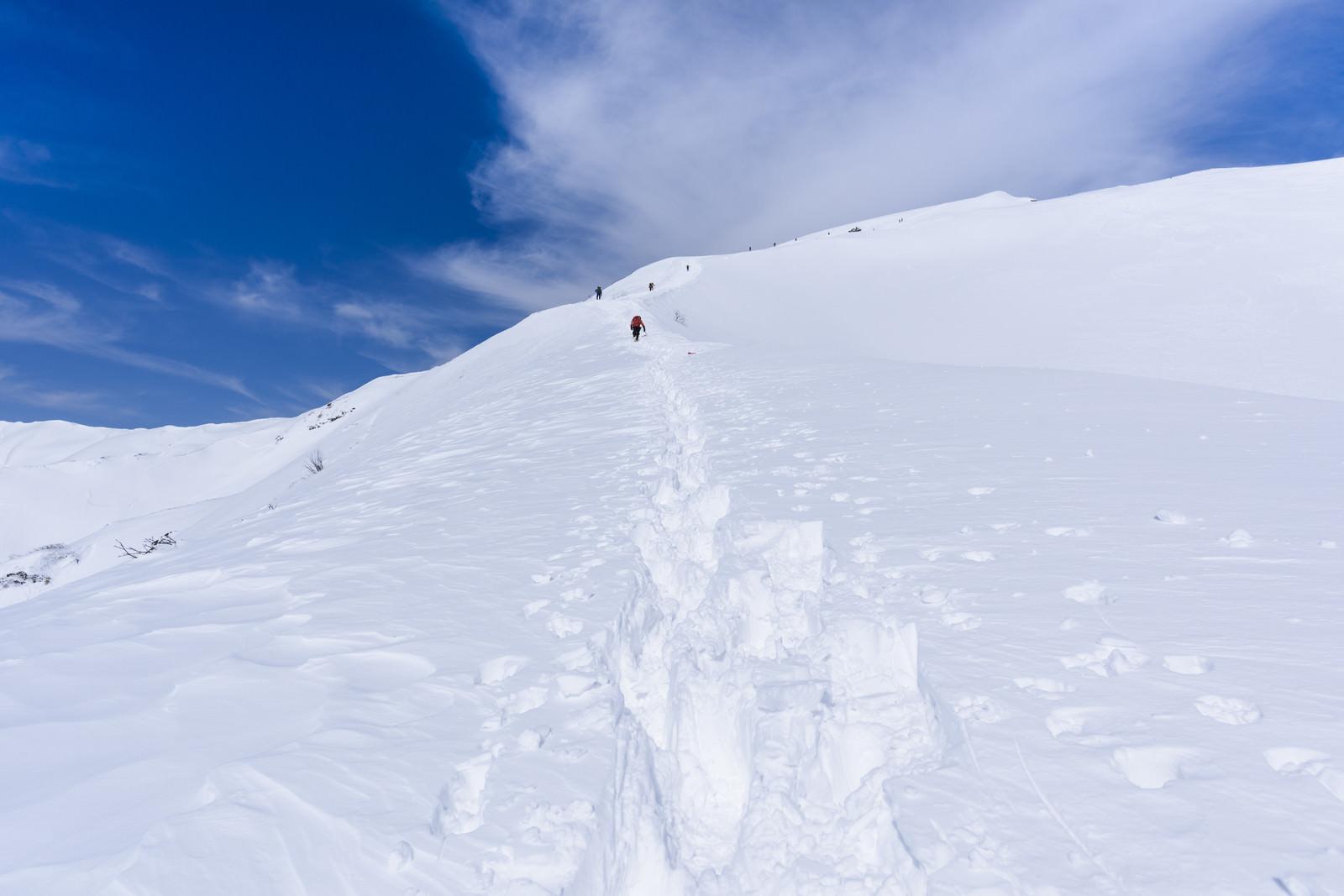 「新雪の中を歩く登山者たち(谷川岳)」の写真