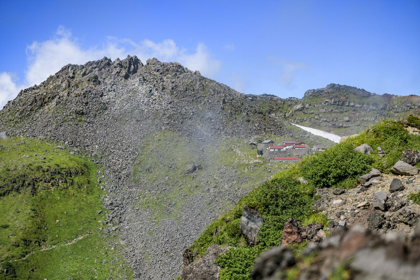 「外輪から見る鳥海山山頂と山小屋」の写真
