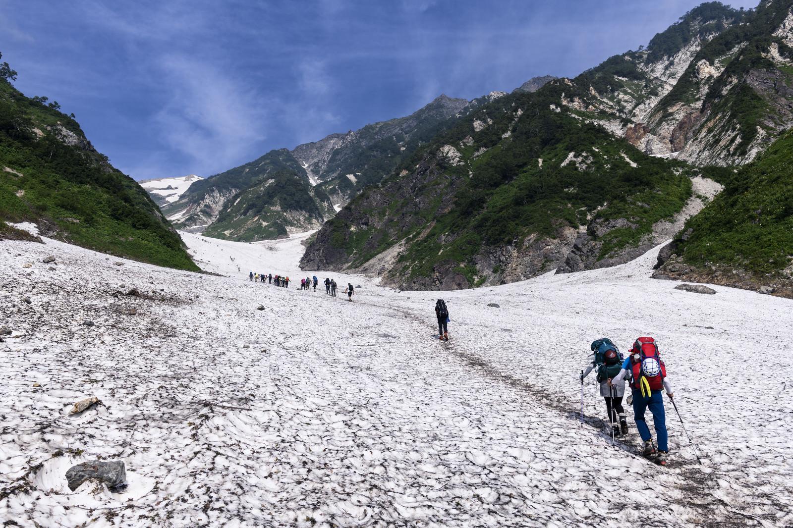 「白馬大雪渓を登る登山者(白馬岳)」の写真