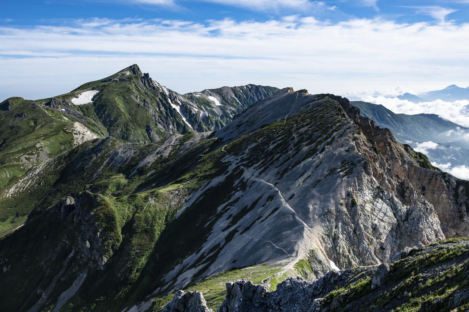 「白馬鑓から見る白馬杓子岳と白馬岳」の写真