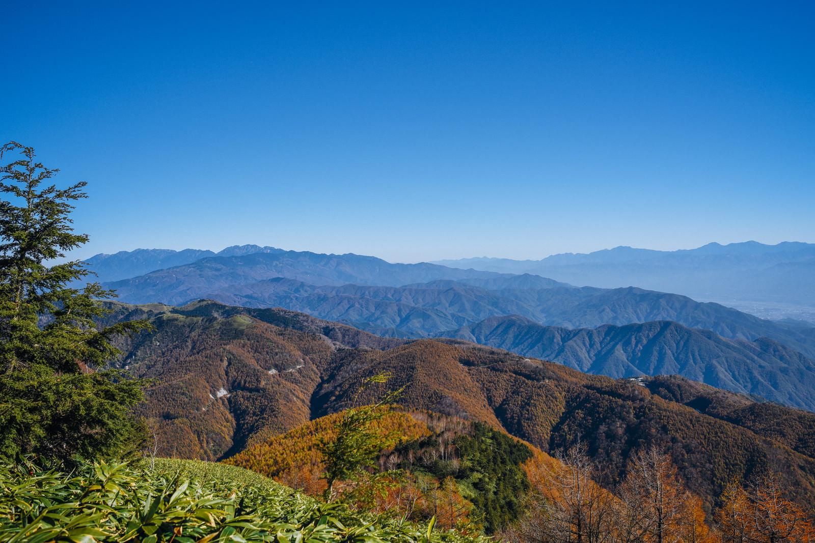 「唐松紅葉で真っ赤に染まる山が広がる恵那山周辺」の写真