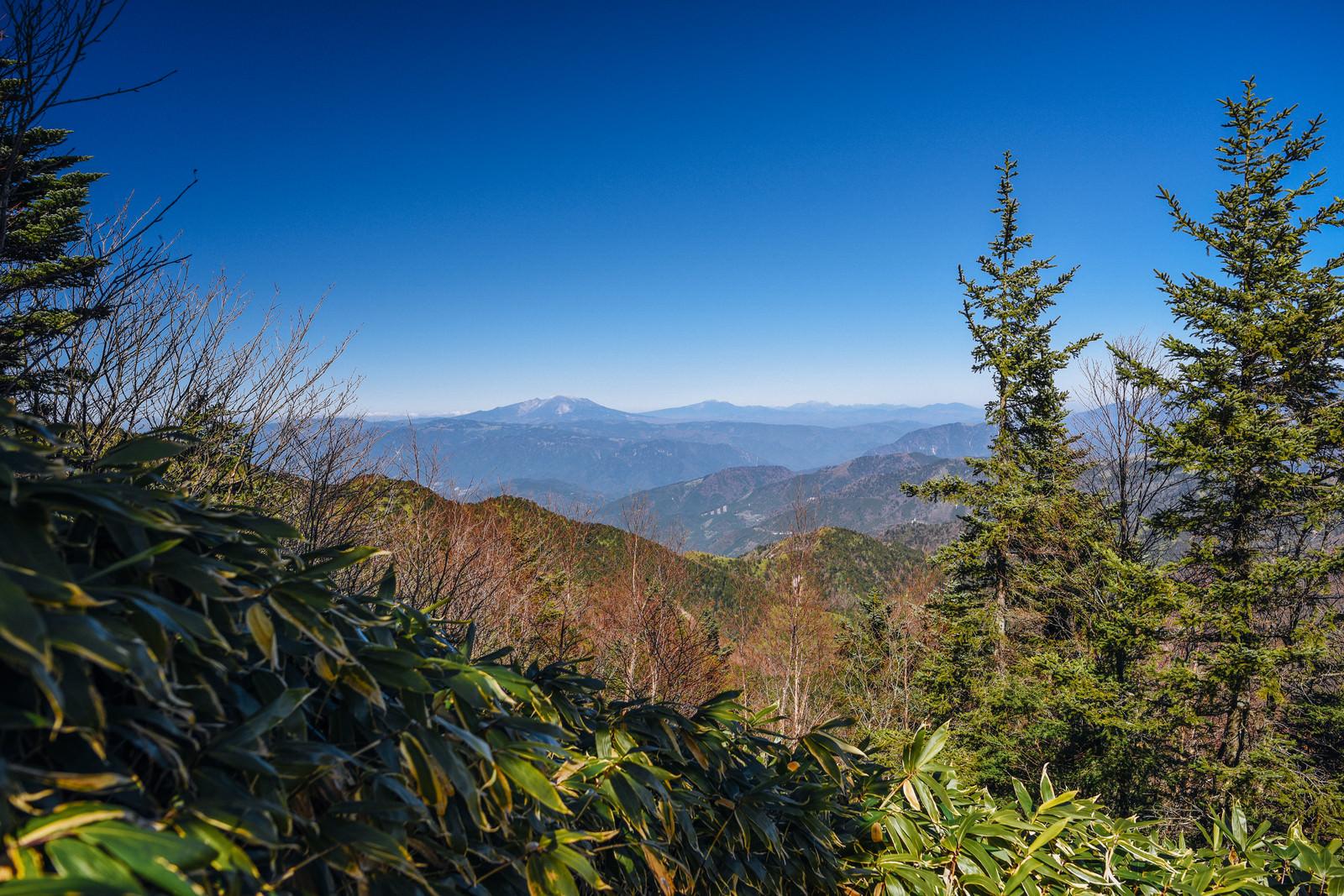 「恵那山山頂から見る御嶽山方面」の写真
