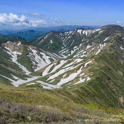 雪渓残る谷川主脈の山々の写真