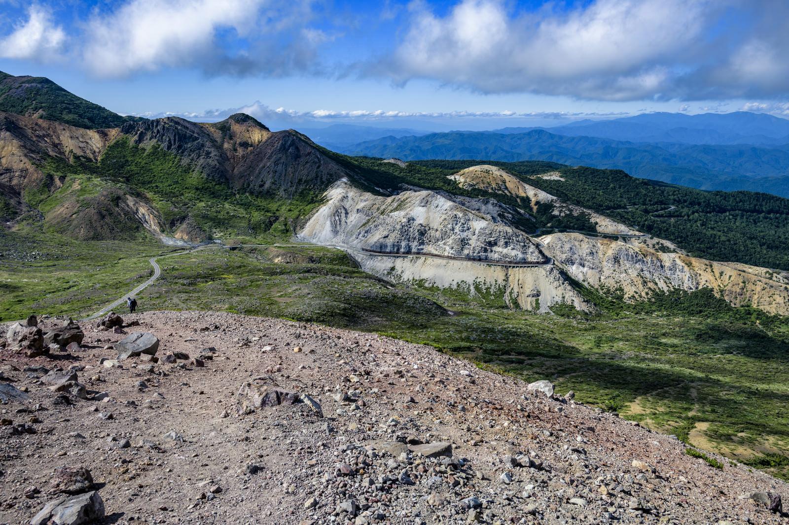 「吾妻小富士から見るスカイラインと登山道(吾妻連峰)」の写真