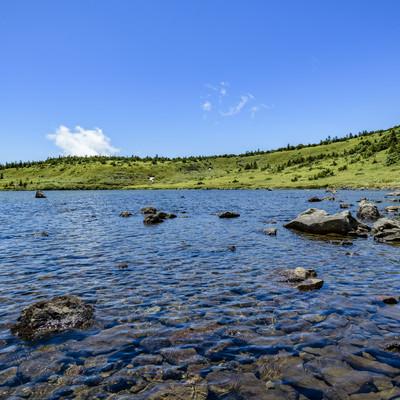 山の上に現れた高層湿原と湖(吾妻連峰)の写真