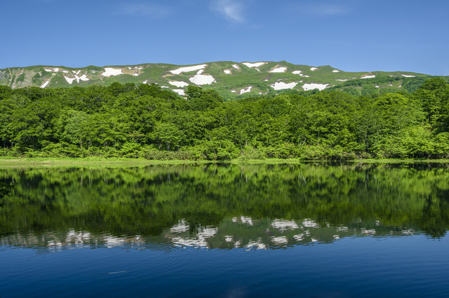 湖面に反射する焼石岳の風景(奥羽山脈)の写真