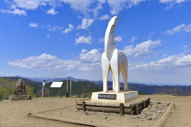 陣馬山の山頂にあるオブジェの写真