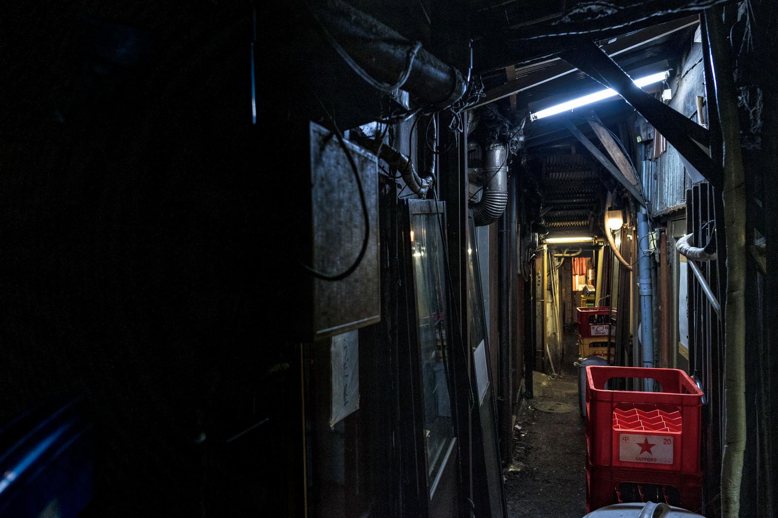 「荒れ果てた飲み屋の裏路地」の写真