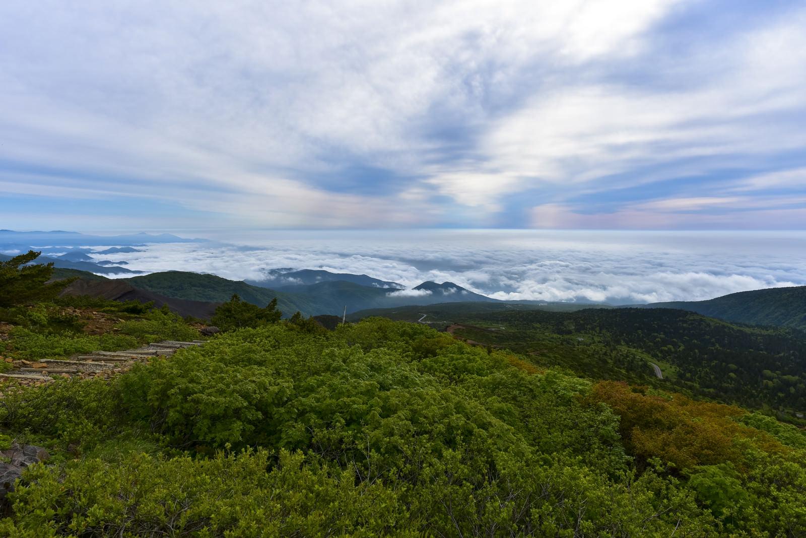 「雲の合間に広がる登山道(蔵王)」の写真