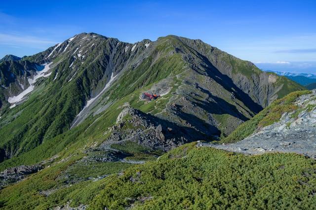 南アルプスの稜線の写真