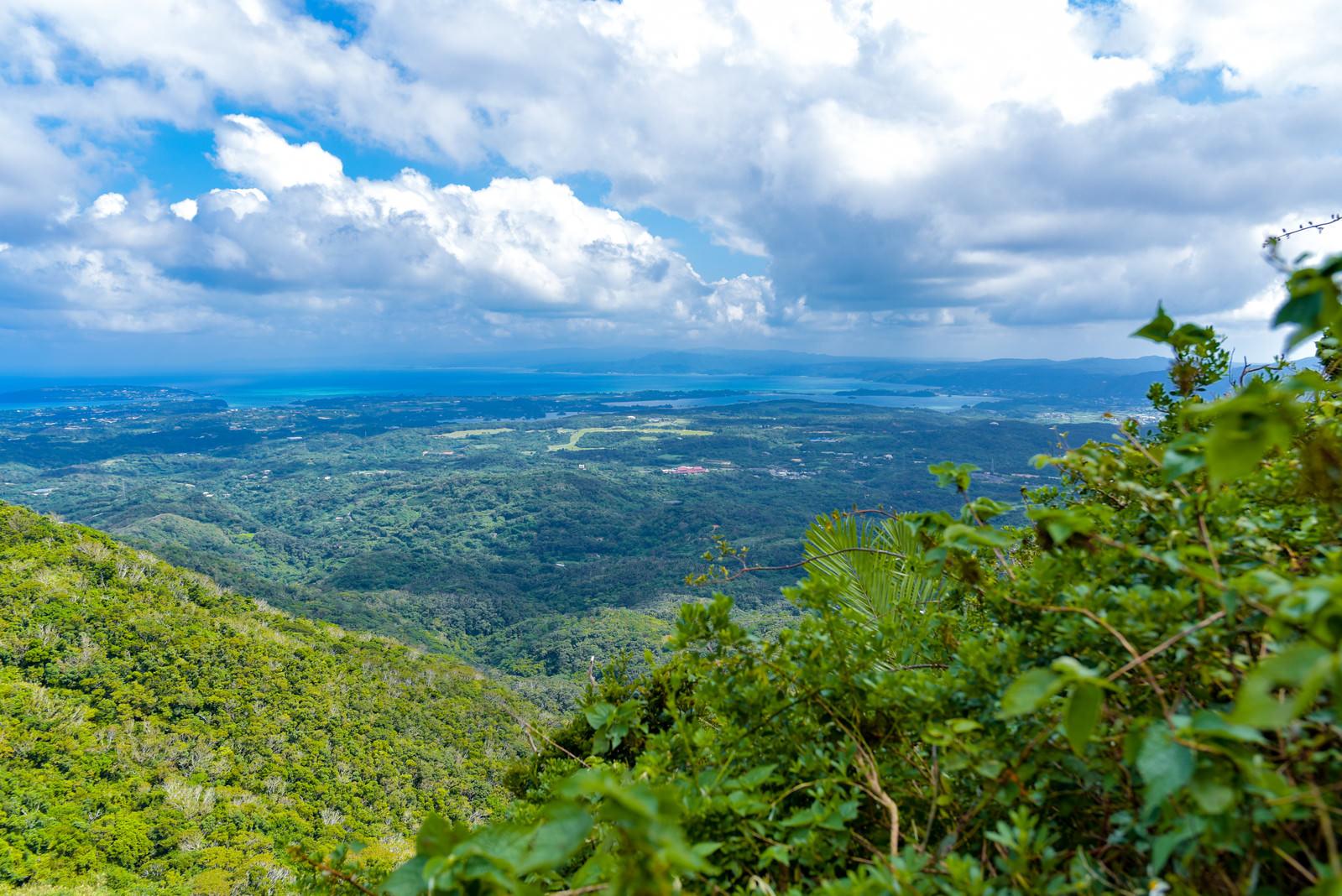 「登山中の嘉津宇岳から見た沖縄の街並み(沖縄県)」の写真