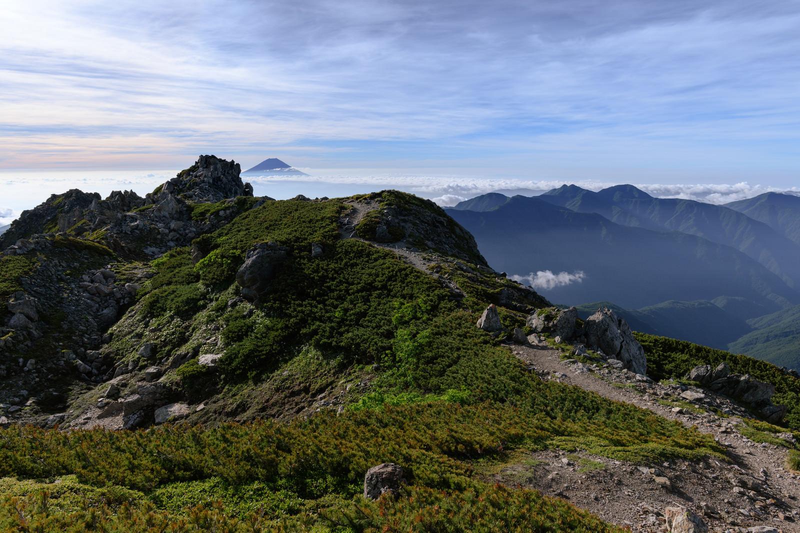 「富士山を望む南アルプスの稜線」の写真