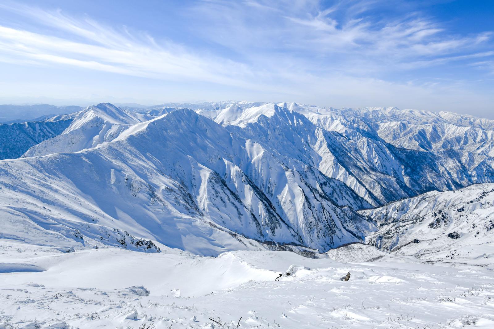 「一ノ倉岳側から見る谷川岳主脈」の写真