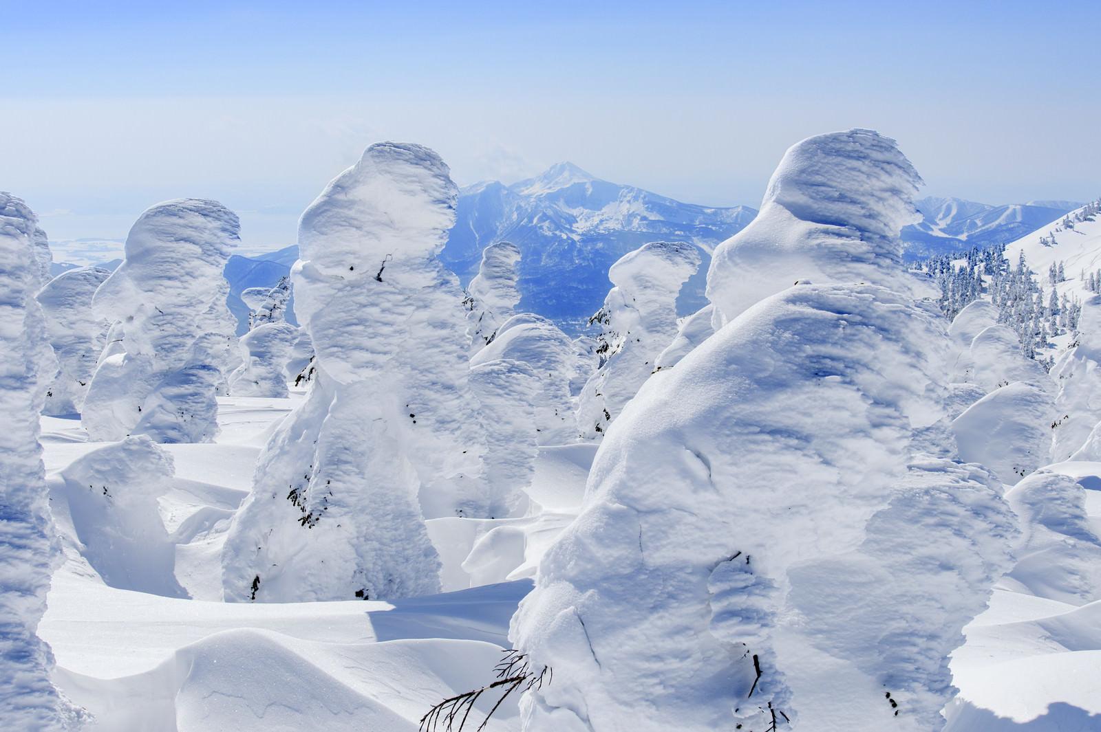 「樹氷越しに見える磐梯山(バンダイサン)」の写真