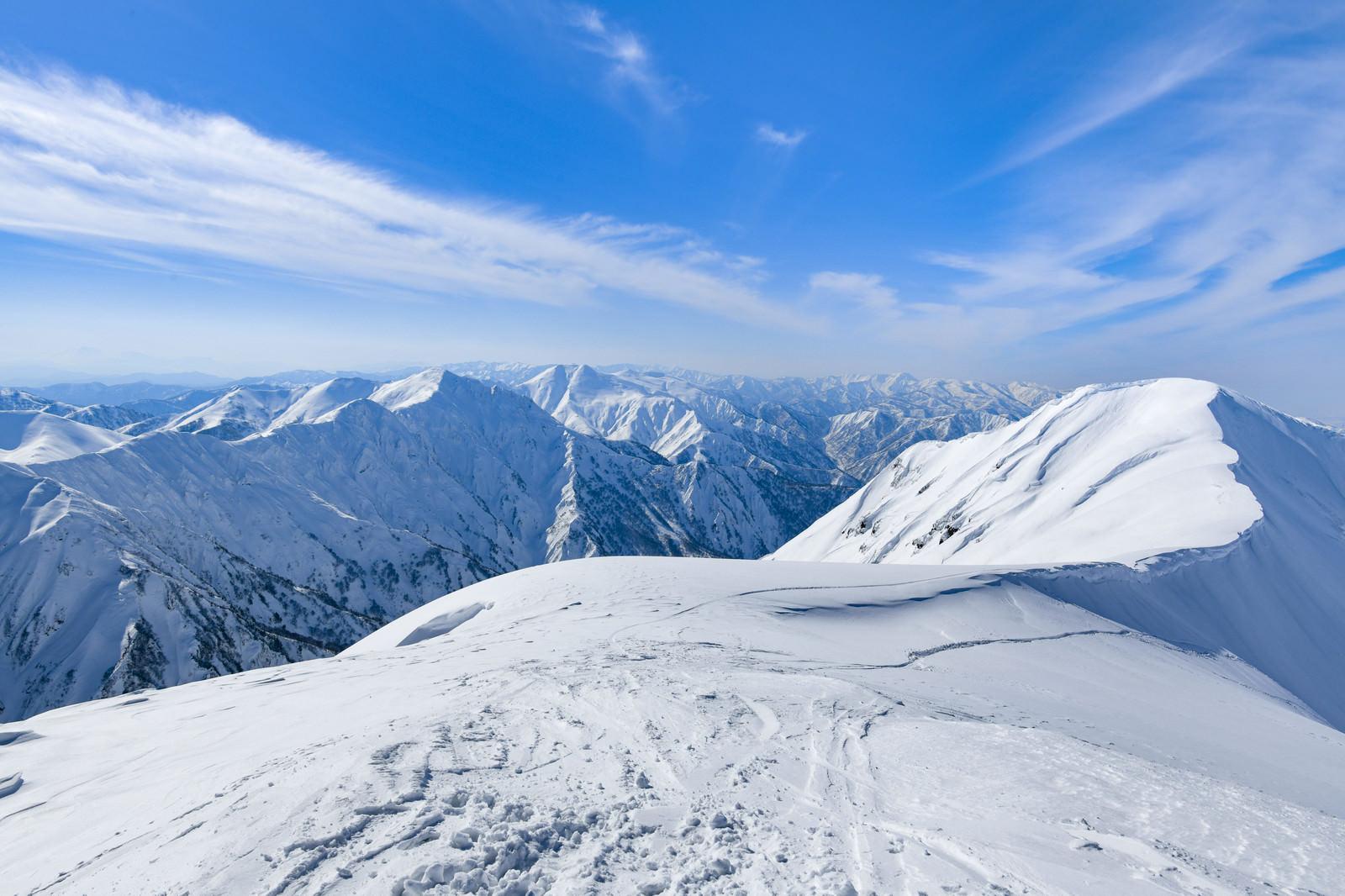「冬の茂倉岳稜線と谷川主脈」の写真