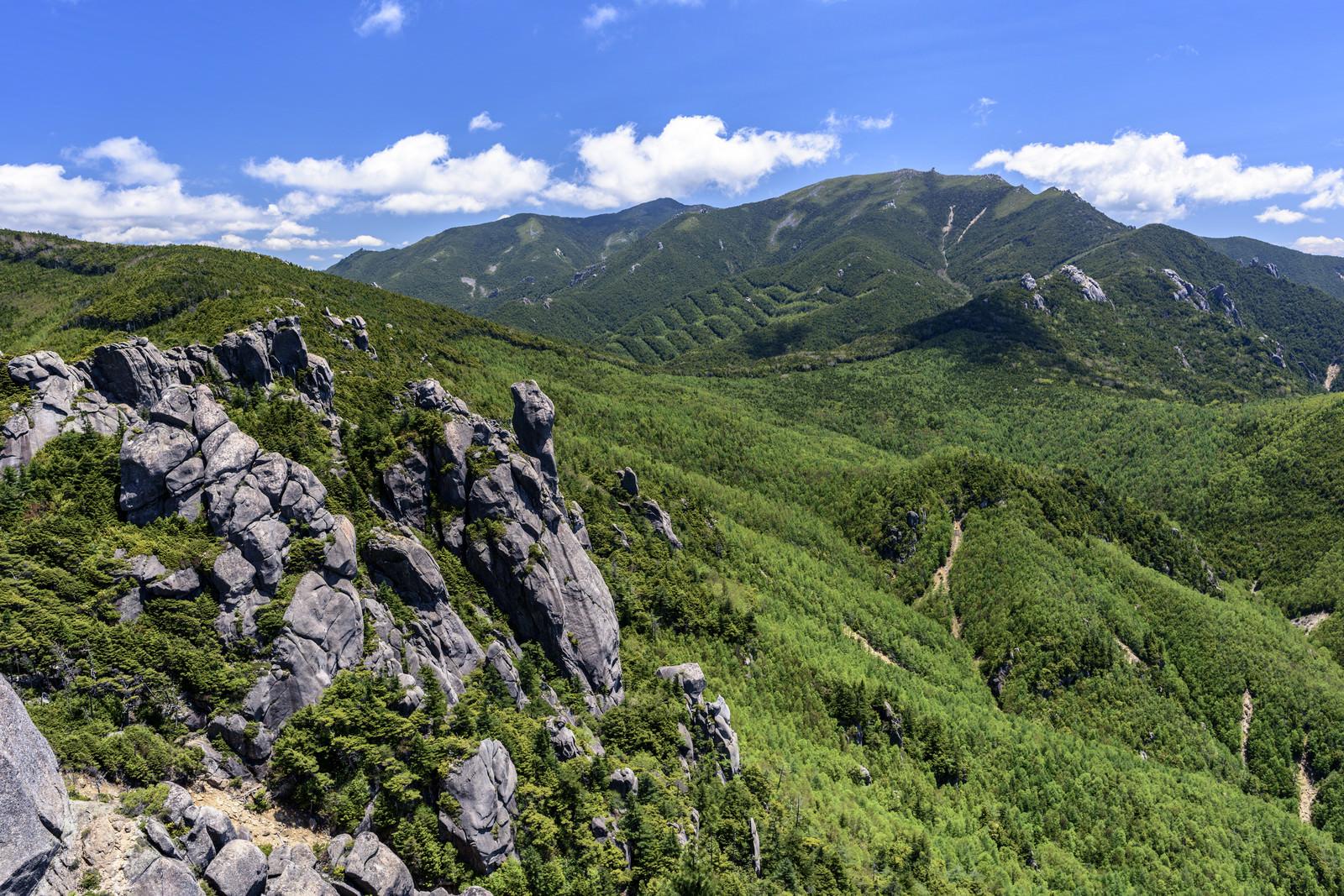「瑞牆山の岩肌と金峰山」の写真