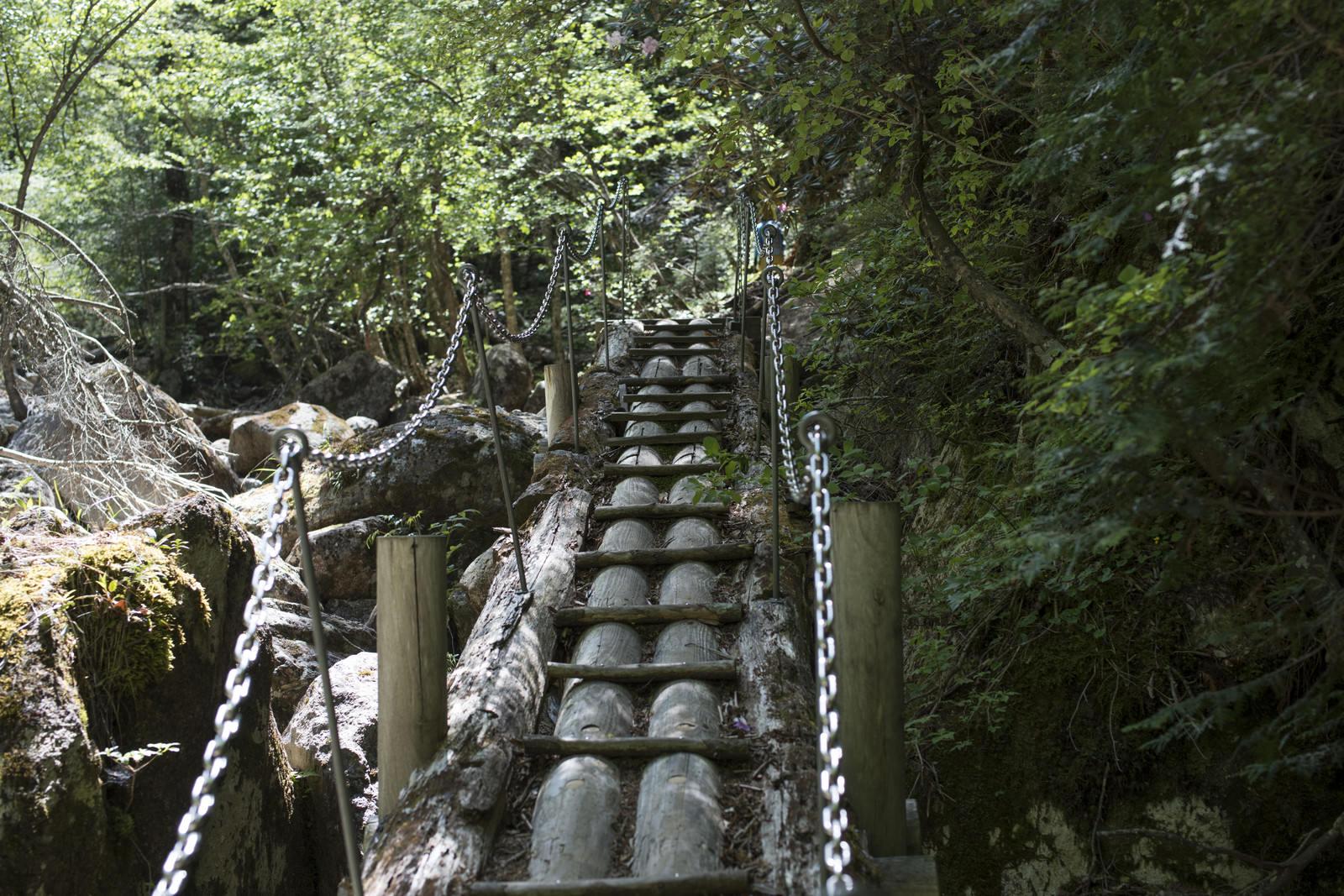 「鎖の手すりで渡る登山道(瑞牆山)」の写真