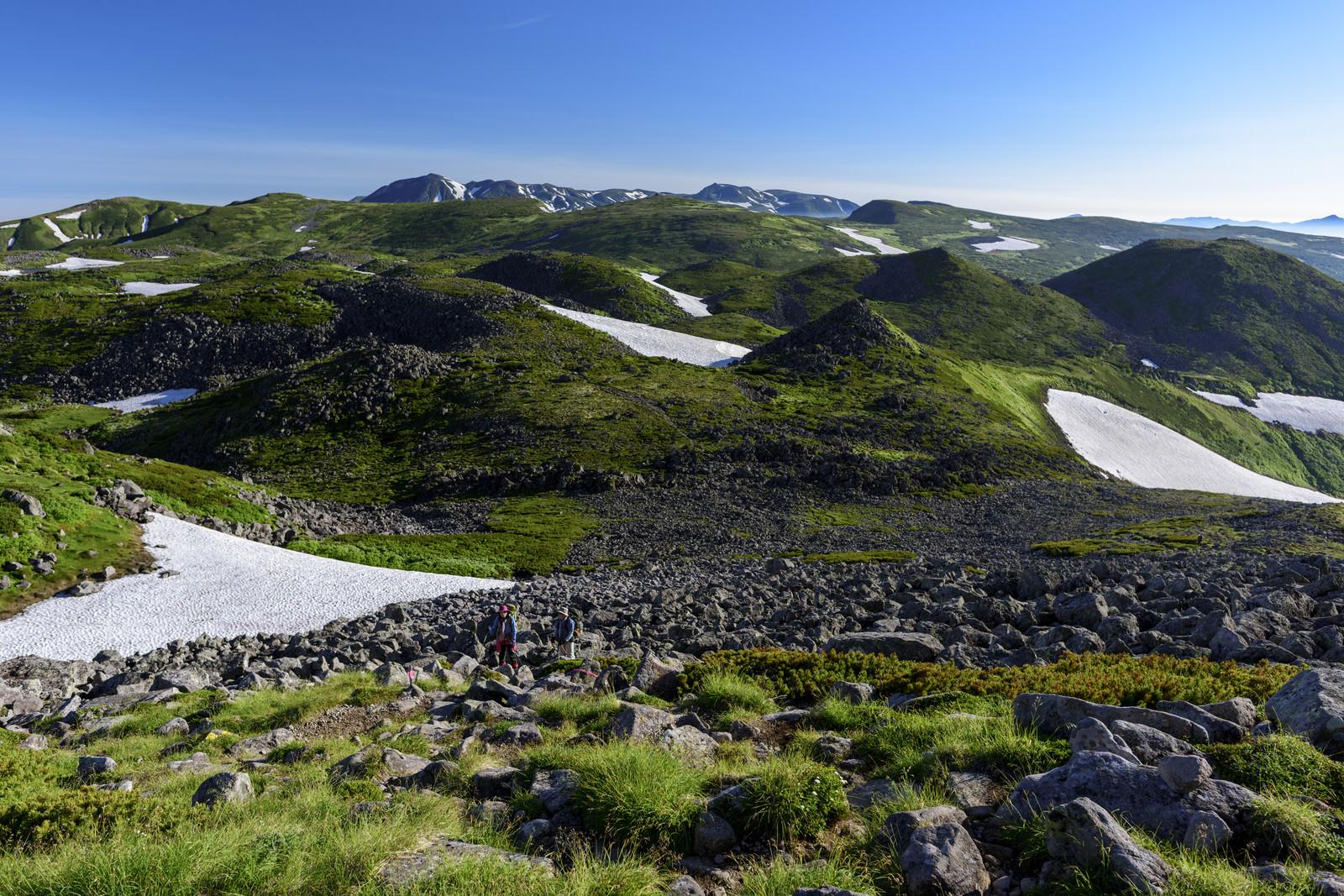 「大雪山日本庭園から見る大雪山北部旭岳方面」の写真