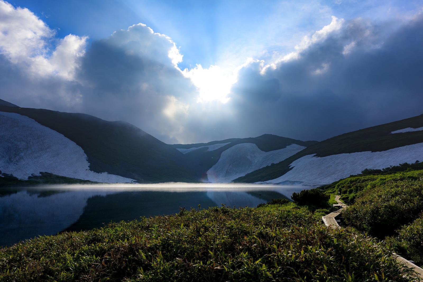「日没のヒサゴ沼」の写真