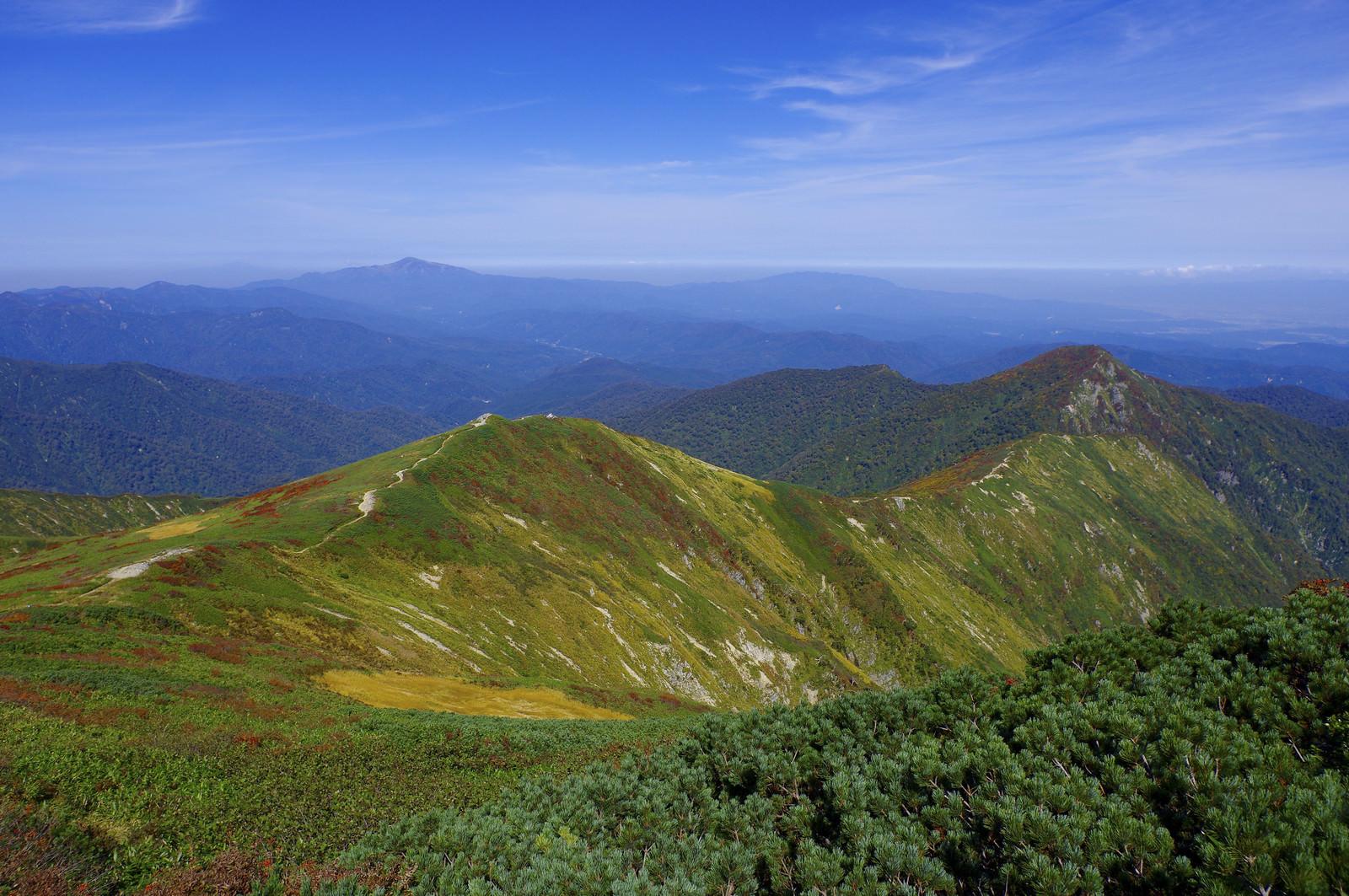 「小朝日岳へと続く稜線の景色(大朝日岳)」の写真