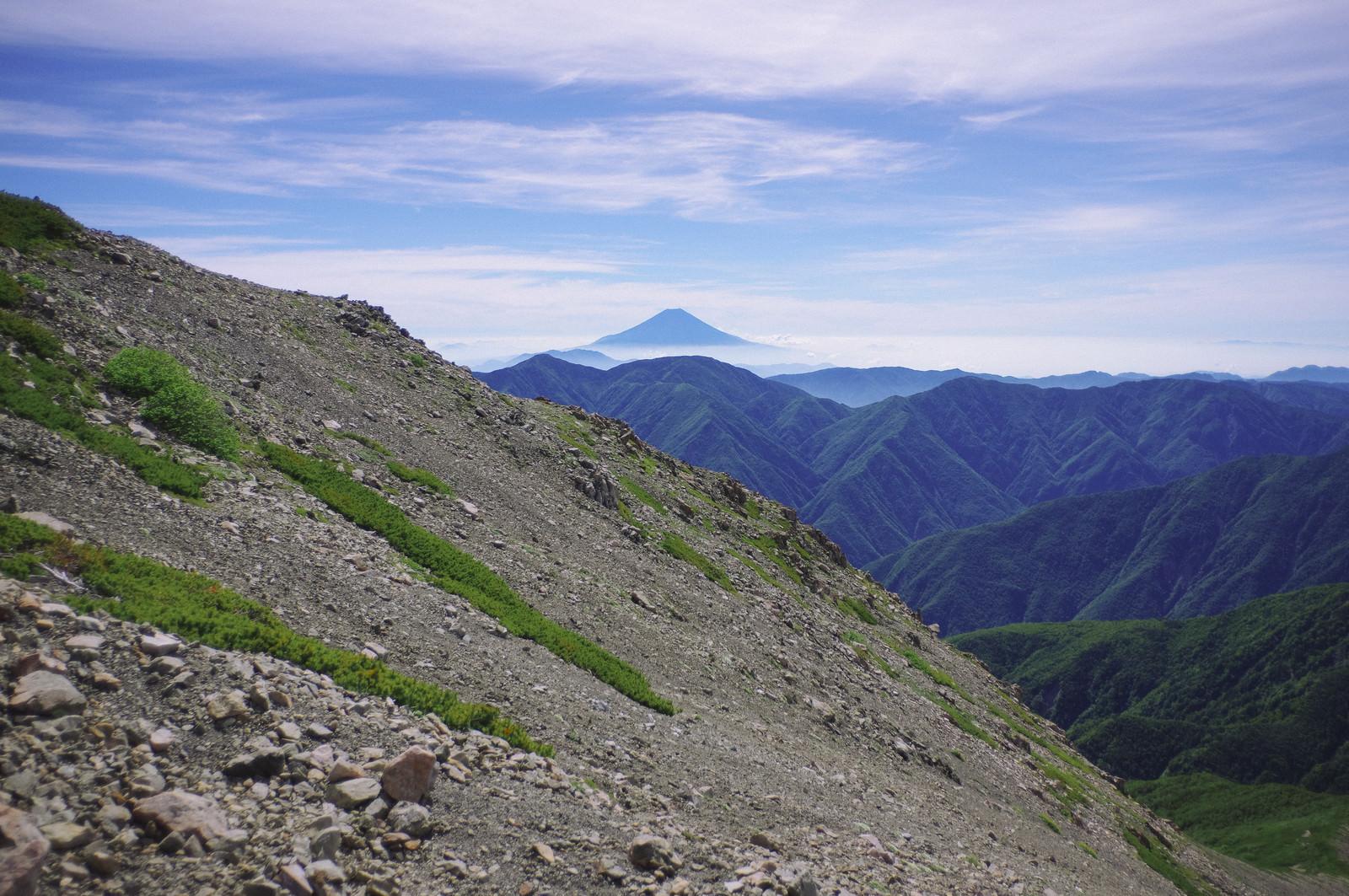 「細かい石で流れそうな斜面と富士山(聖岳)」の写真