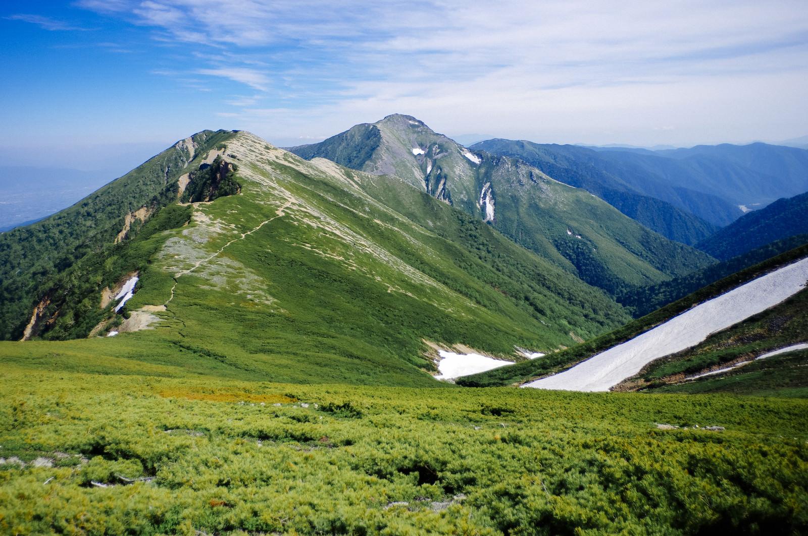 「表銀座登山道から眺める常念岳方面」の写真