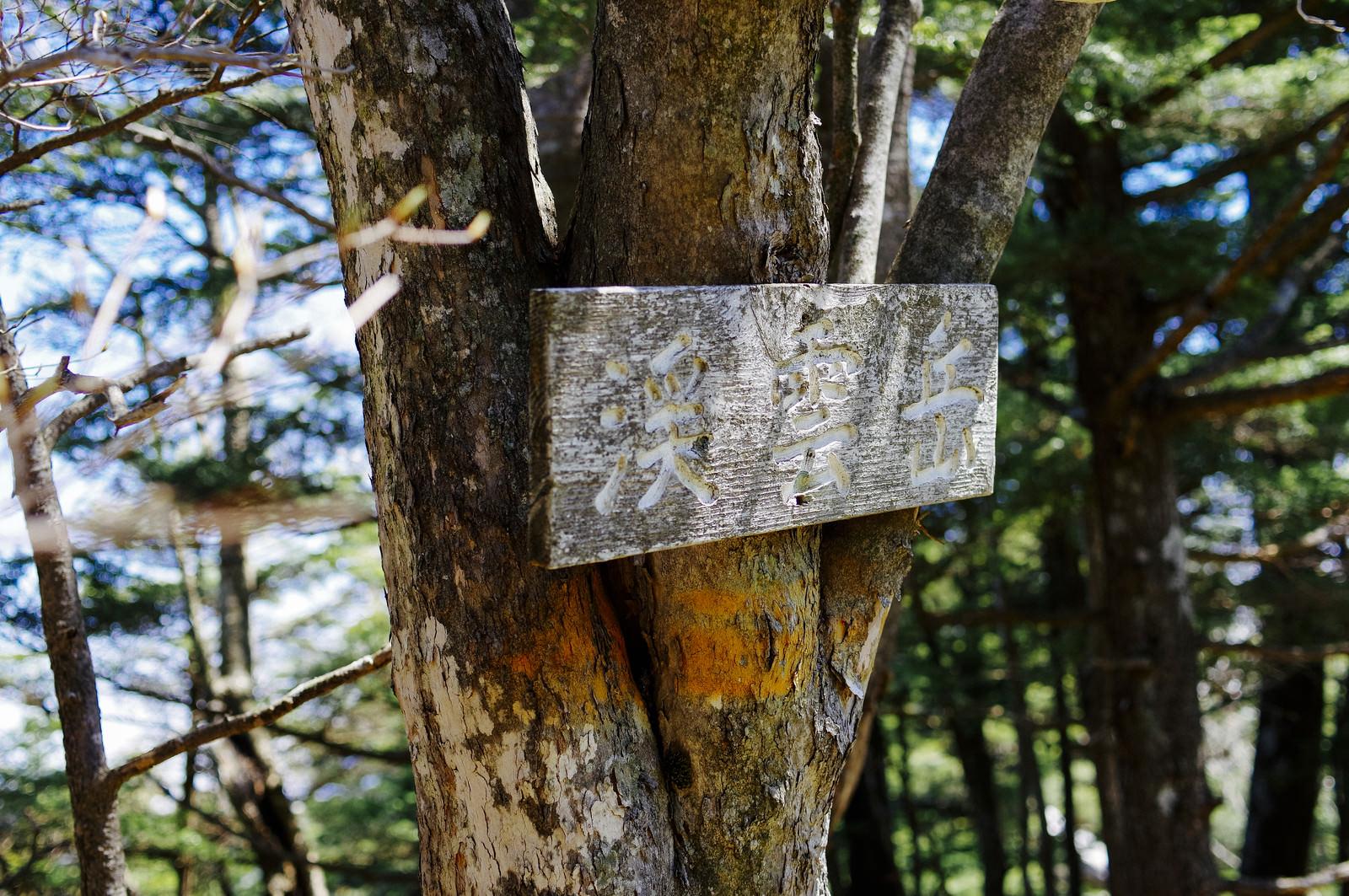 「皇海山クラシックルート上の山の一つを示す案内板」の写真