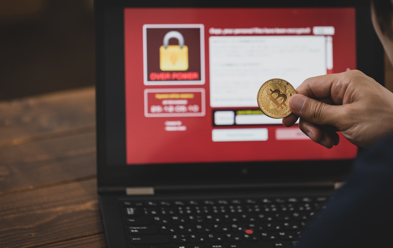ランサムウェアの身代金にビットコインが利用されるのフリー素材