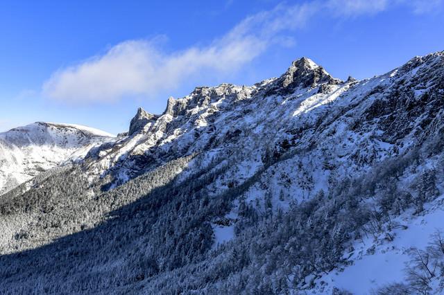 冬の文三郎尾根から眺める横岳と硫黄岳の写真