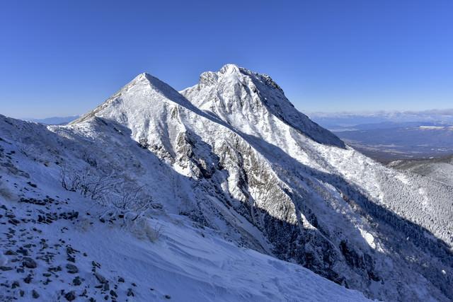 冬の文三郎尾根中腹から見る阿弥陀岳の写真