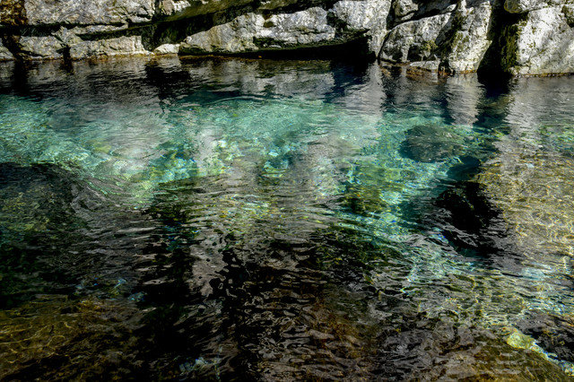 透明度の高いシシ淵を流れる清流(大杉谷)の写真