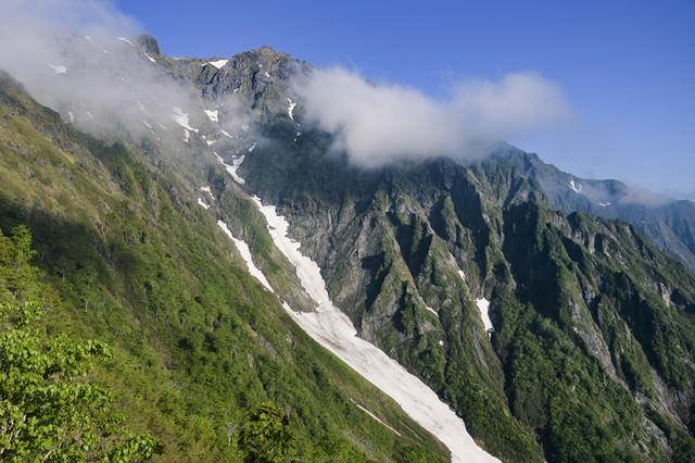 西黒尾根から眺める春の谷川岳山頂の写真