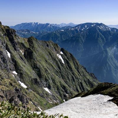 西黒尾根から眺める白毛門の写真