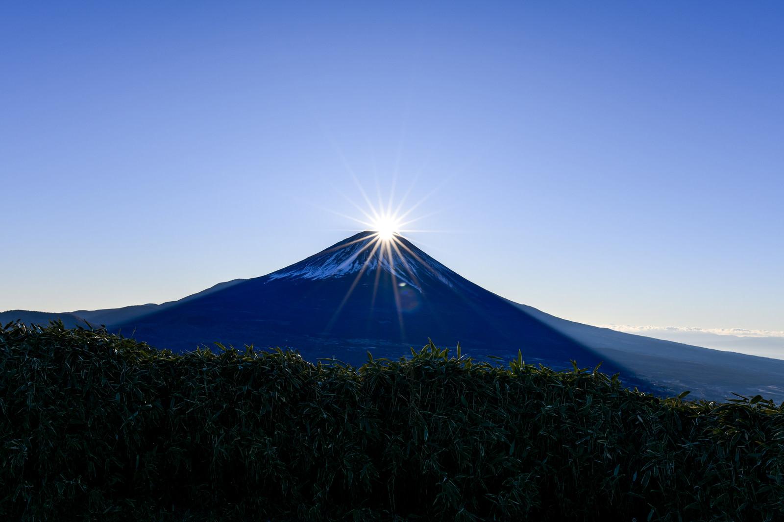 「竜ヶ岳から見る富士山に上がるダイヤモンド富士」の写真