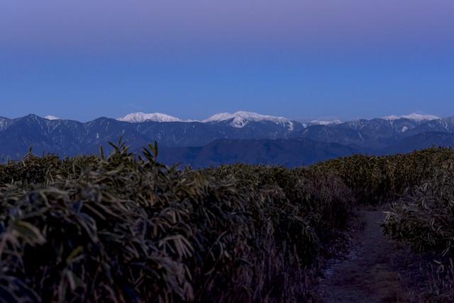 竜ヶ岳から見る朝の白鳳三山の写真
