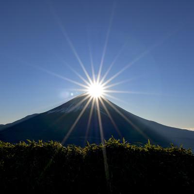 美しい光芒のダイヤモンド富士の写真