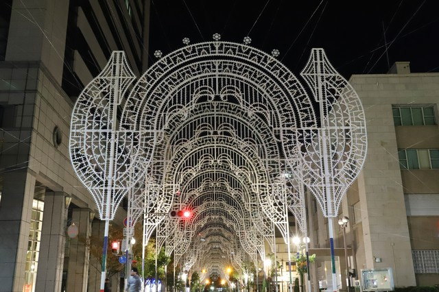 準備中の電飾(神戸ルミナリエ)の写真