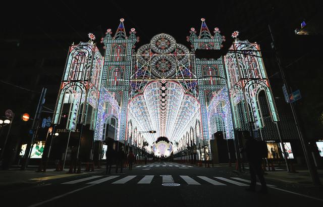 ライトアップされた電飾(神戸ルミナリエ)の写真