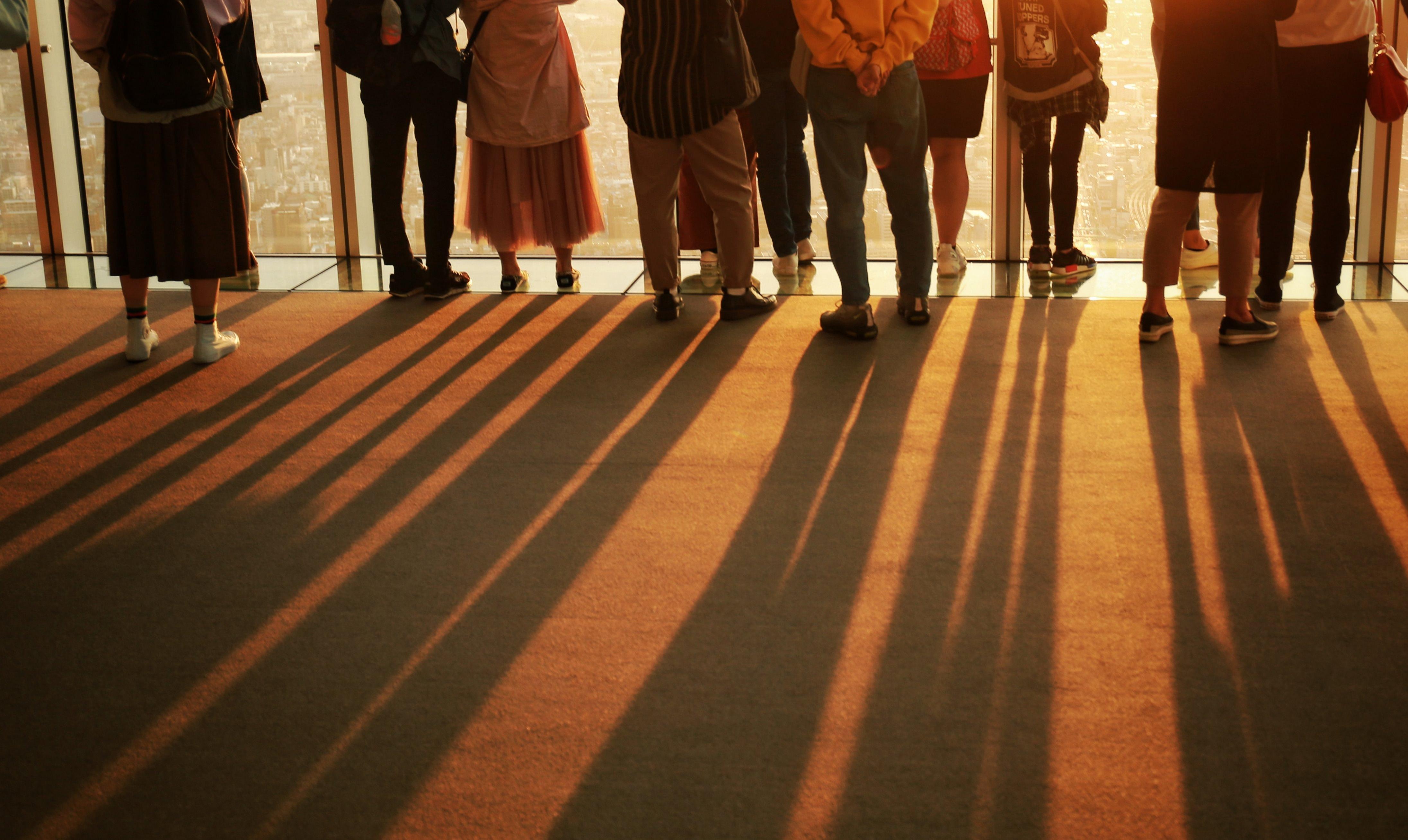 夕焼けに染まる絨毯に伸びる影の写真