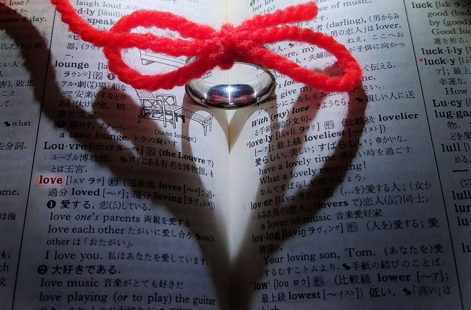「運命の赤い糸が結ぶ指輪のハートの影」の写真