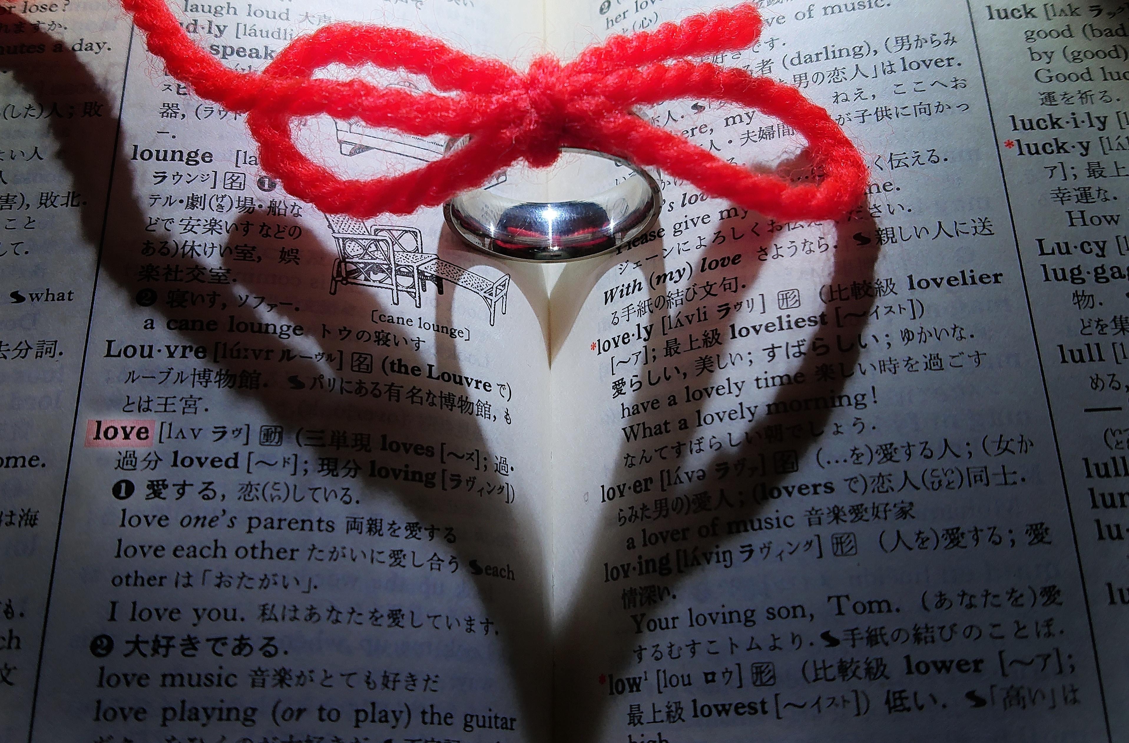 愛のページに浮かび上がるハートの影の写真