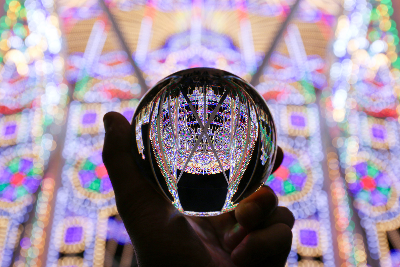 「ガラス玉から広がるイルミネーション」の写真